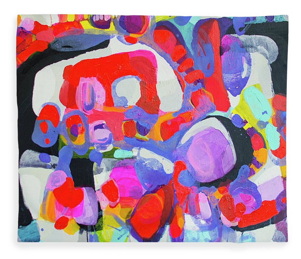 Abstract Fleece Blanket featuring the painting Try Me by Claire Desjardins