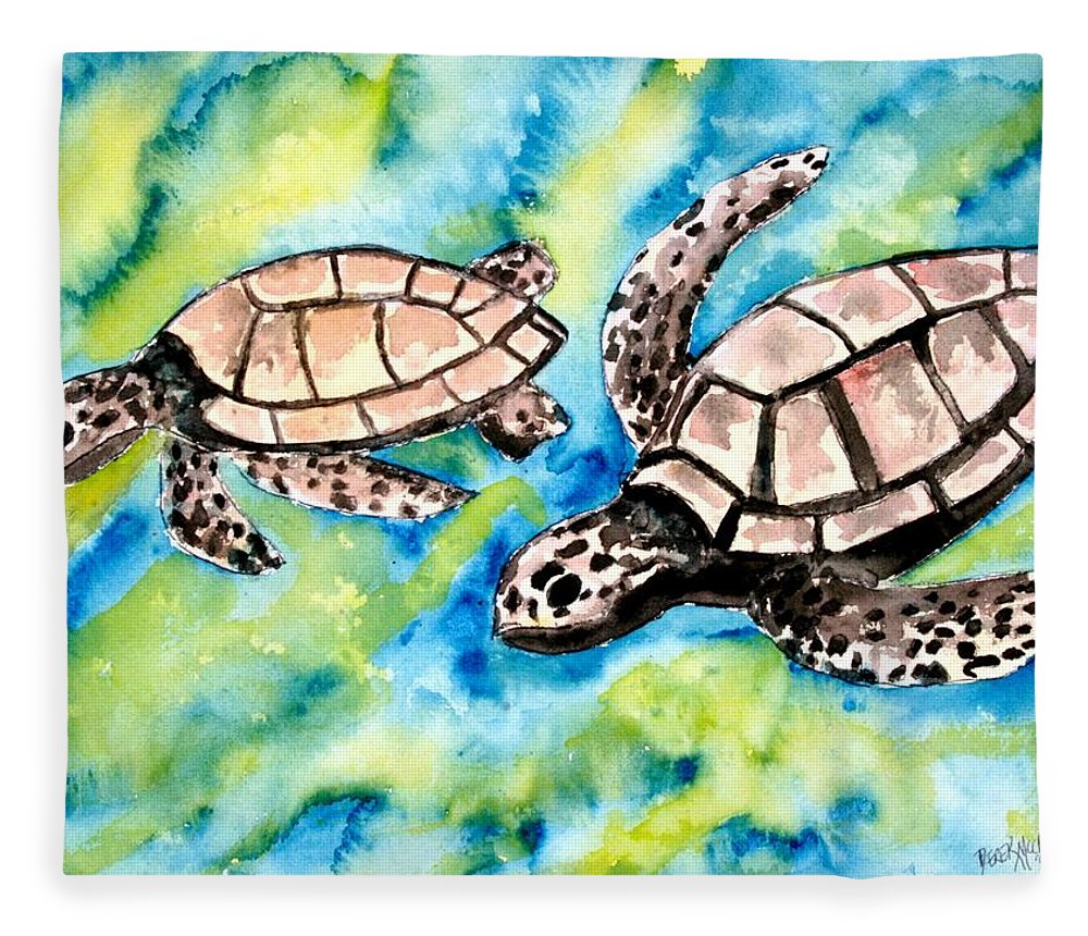 Love Fleece Blanket featuring the painting Turtle Love Pair Of Sea Turtles by Derek Mccrea