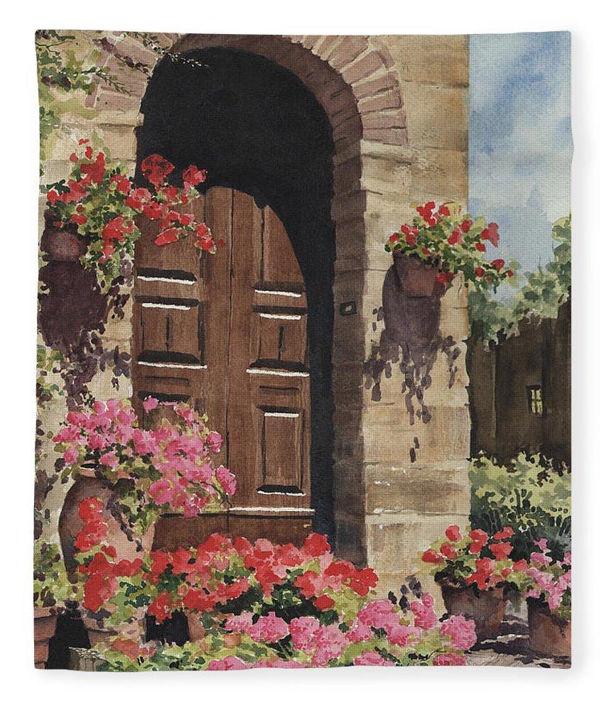 Flowers Fleece Blanket featuring the painting Tuscan Door by Sam Sidders