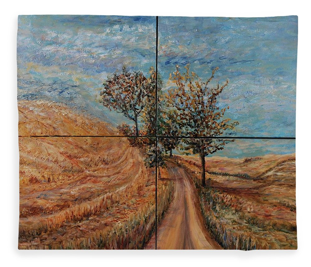 Landscape Fleece Blanket featuring the painting Tuscan Journey by Nadine Rippelmeyer