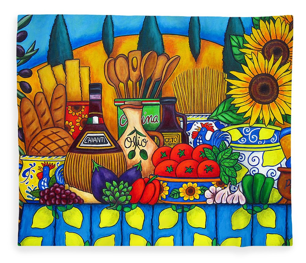 Still Life Fleece Blanket featuring the painting Tuscany Delights by Lisa Lorenz