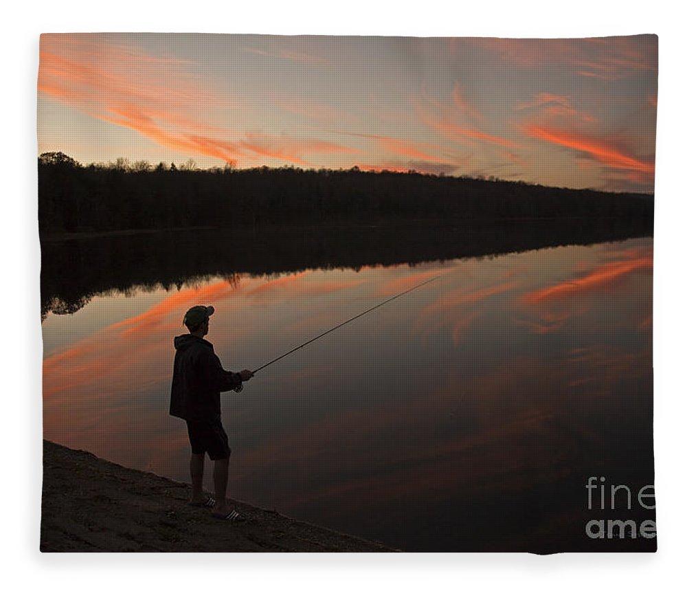 Twilight Fleece Blanket featuring the photograph Twilight Fishing Delight by John Stephens