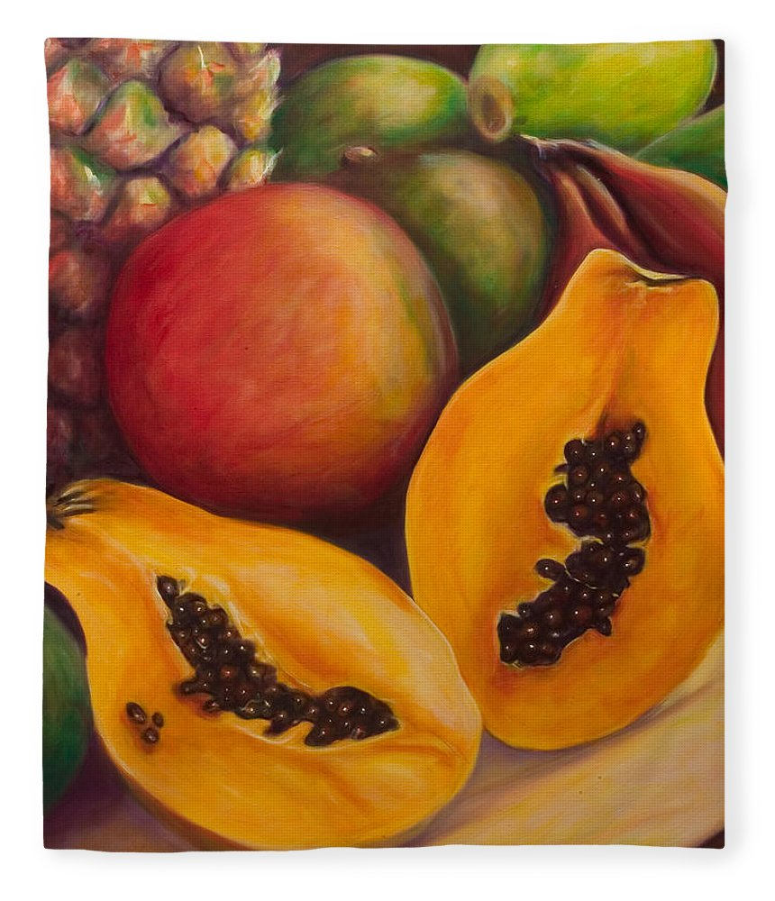 Papaya Fleece Blanket featuring the painting Twins by Shannon Grissom