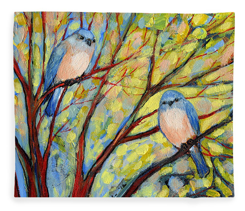 Bird Fleece Blanket featuring the painting Two Bluebirds by Jennifer Lommers