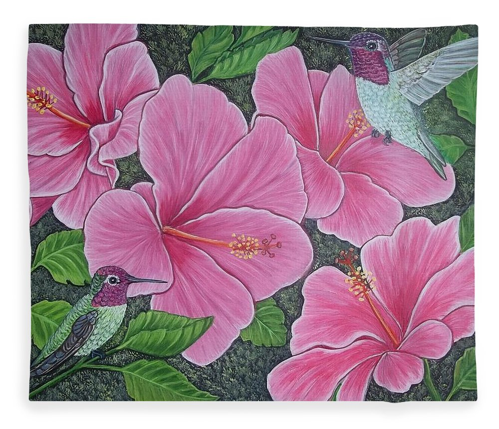 Two hummingbirds and pink hibiscus flowers fleece blanket for sale hummingbirds fleece blanket featuring the painting two hummingbirds and pink hibiscus flowers by sofya mikeworth izmirmasajfo