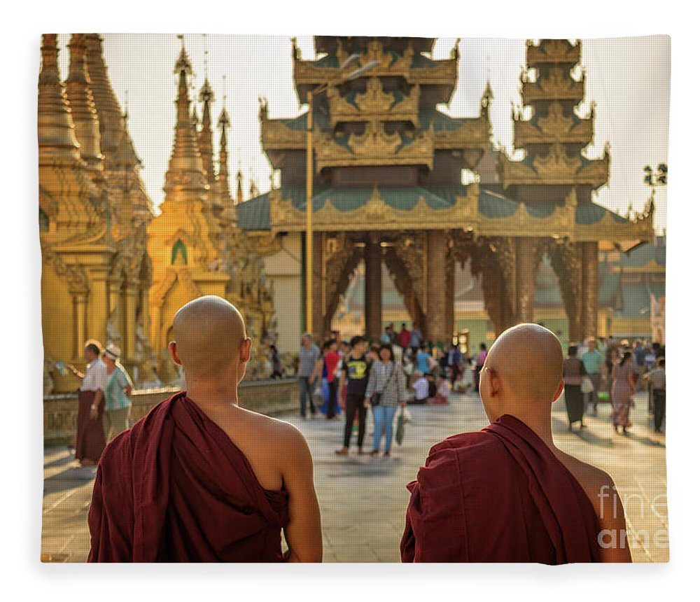 Burma Fleece Blanket featuring the photograph Two Monks by Louise Poggianti