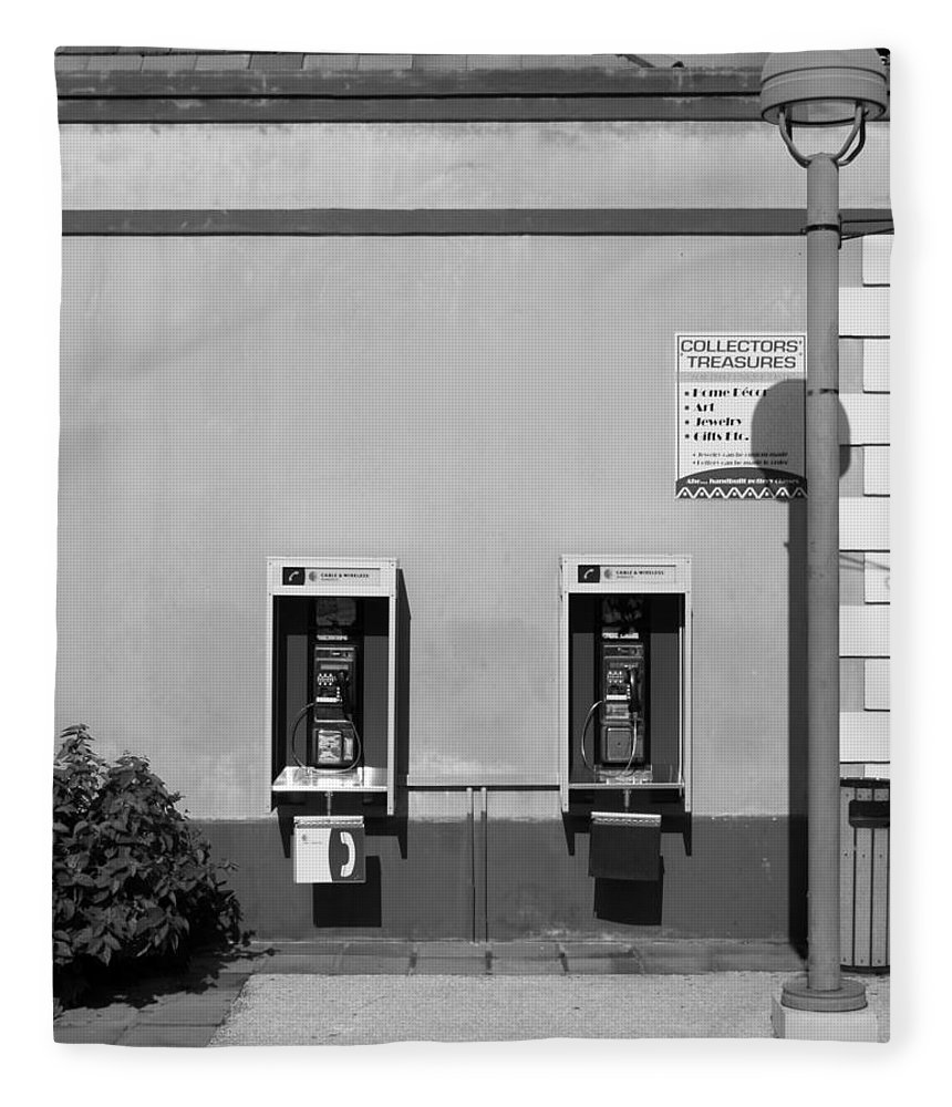 Pay Fleece Blanket featuring the photograph Two Pay Phones by Perry Webster