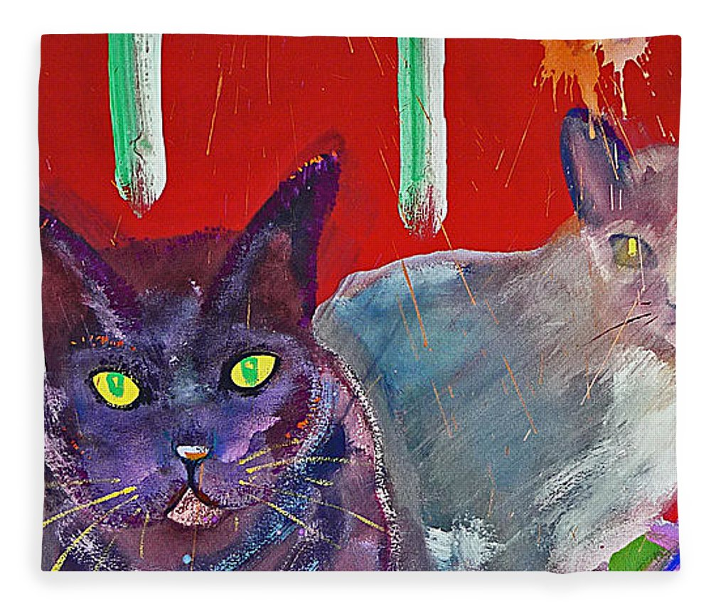 Cat Fleece Blanket featuring the painting Two Posh Cats by Charles Stuart