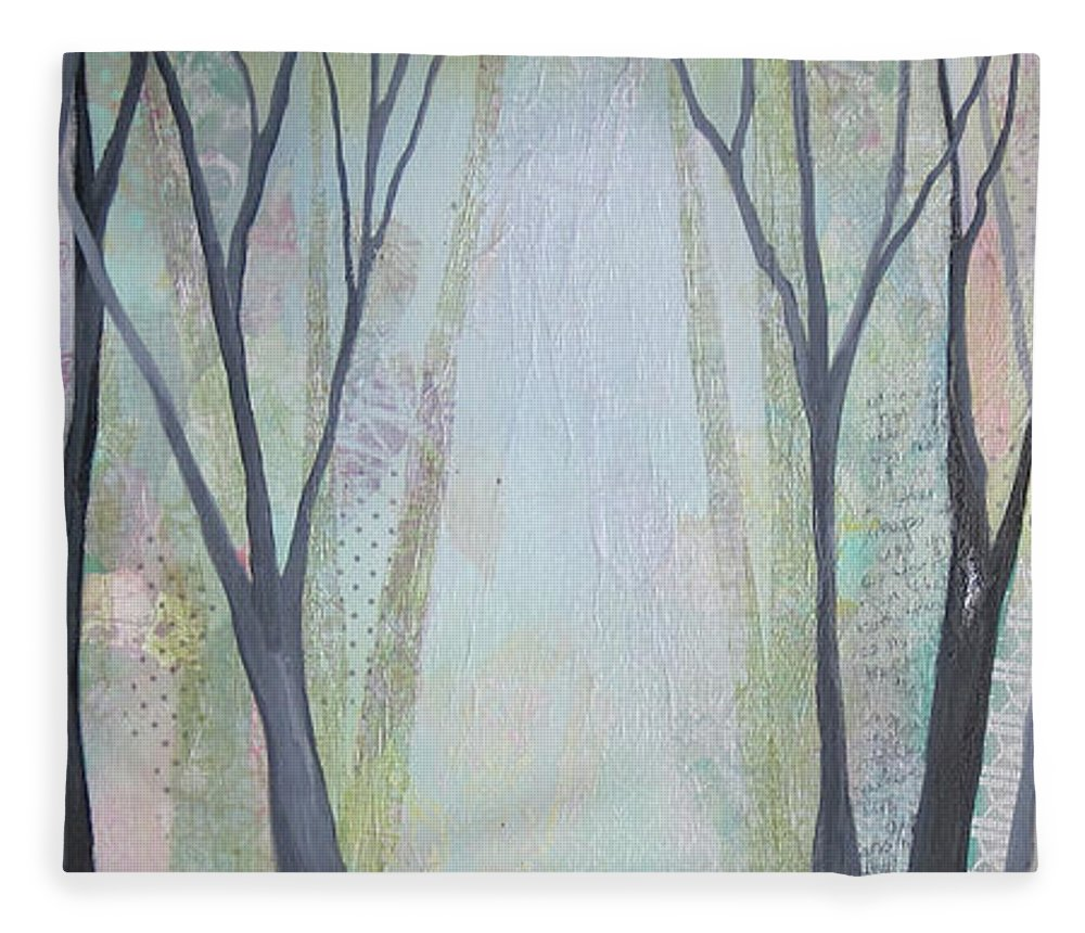 Tree Fleece Blanket featuring the painting Two Roads I by Shadia