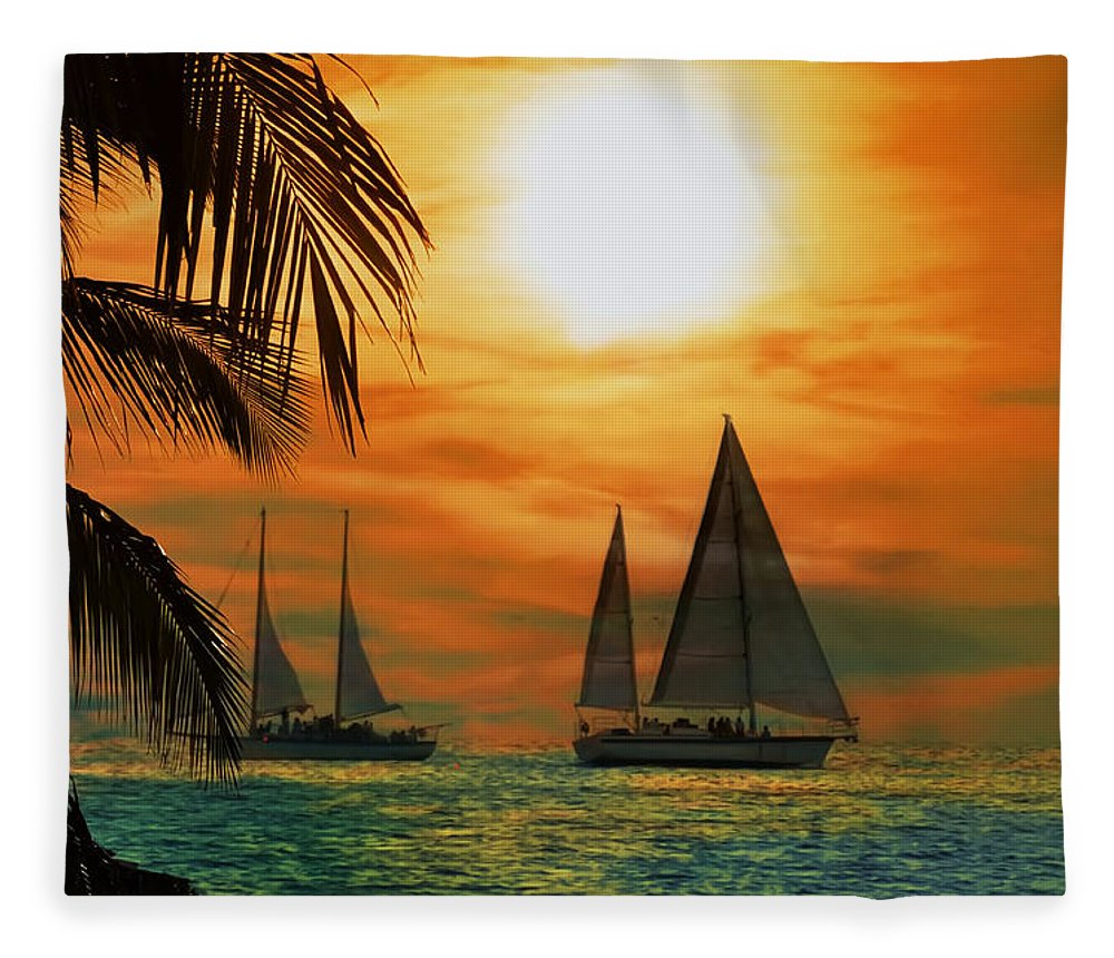 Sail Fleece Blanket featuring the photograph Two Ships Passing In The Night by Bill Cannon
