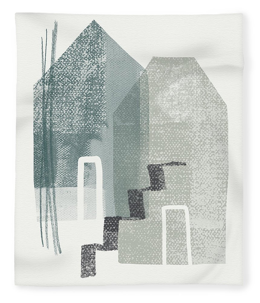 Houses Fleece Blanket featuring the painting Two Tall Houses- Art By Linda Woods by Linda Woods