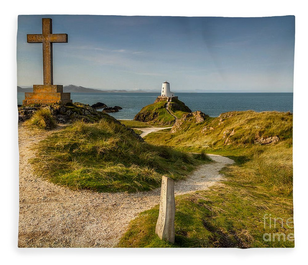 Lighthouse Fleece Blanket featuring the photograph Twr Mawr Lighthouse by Adrian Evans