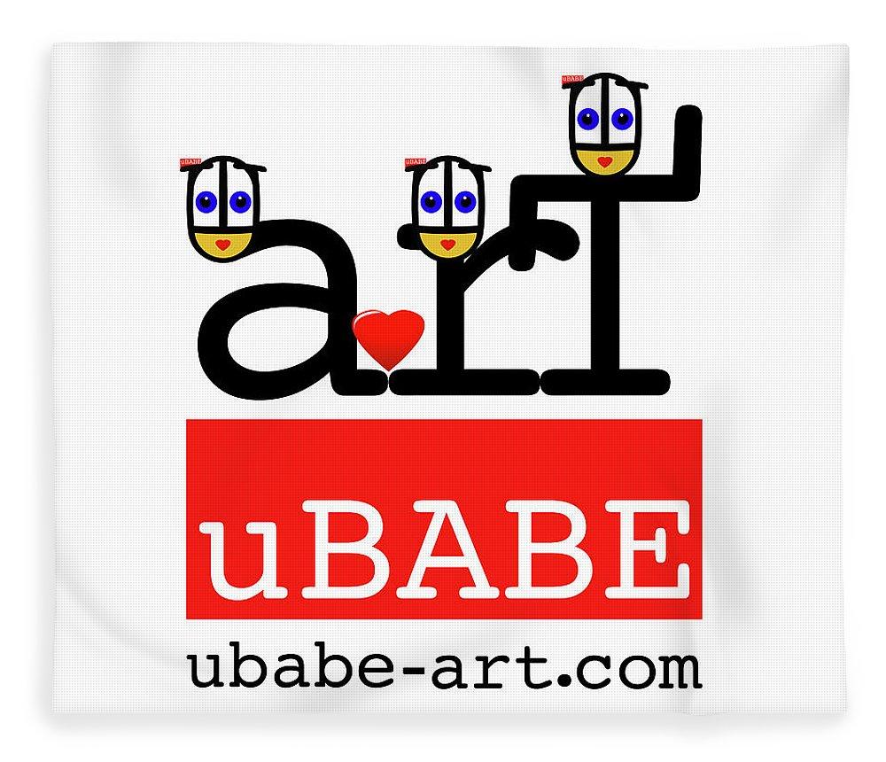 Ubabe Fleece Blanket featuring the digital art uBABE Art Wave by Charles Stuart