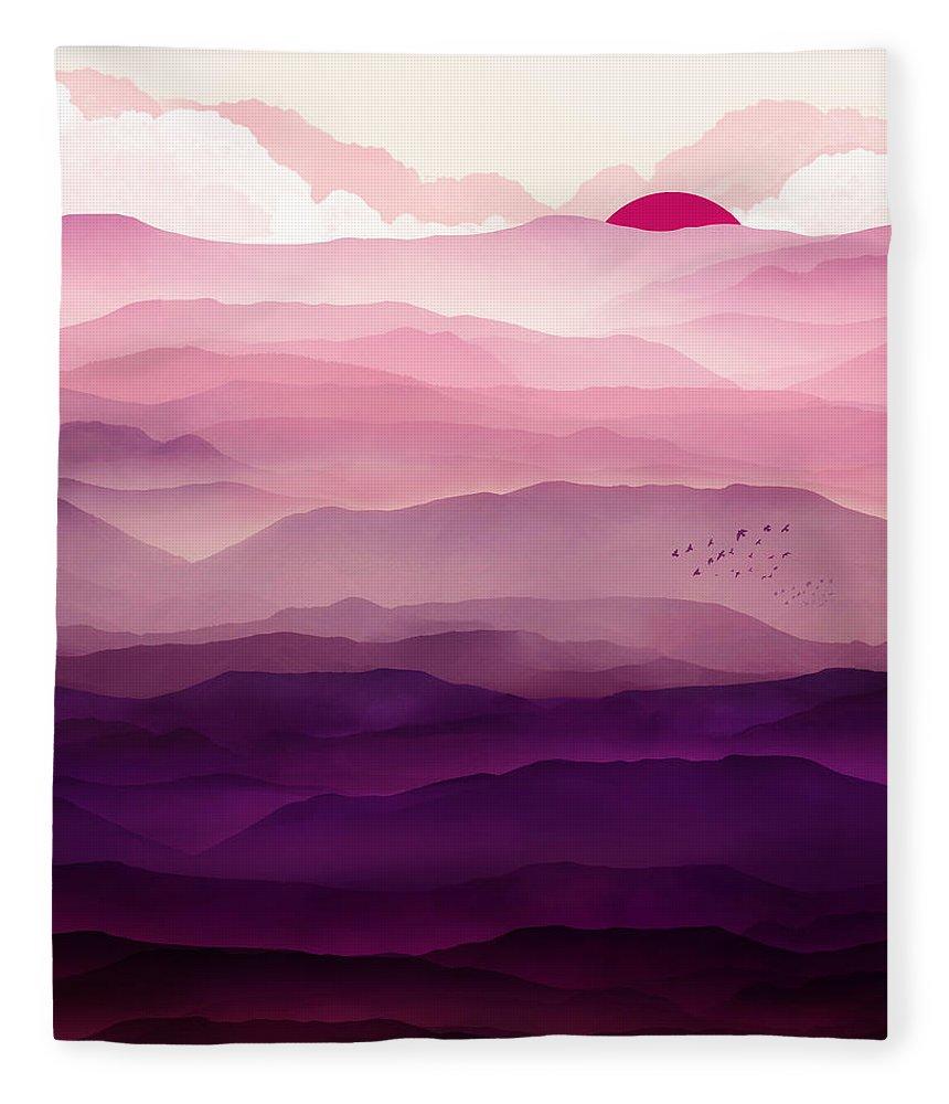 Violet Fleece Blanket featuring the digital art Ultraviolet Day by Spacefrog Designs