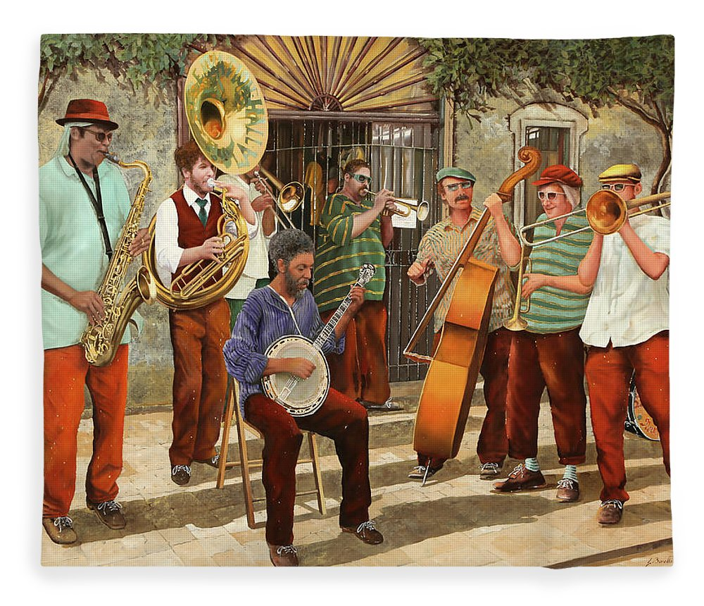 Jazz Fleece Blanket featuring the painting Un Po' Di Jazz by Guido Borelli