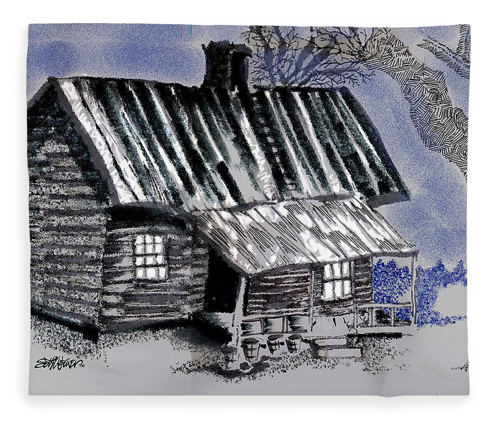 Cabin Fleece Blanket featuring the drawing Under a Tin Roof by Seth Weaver