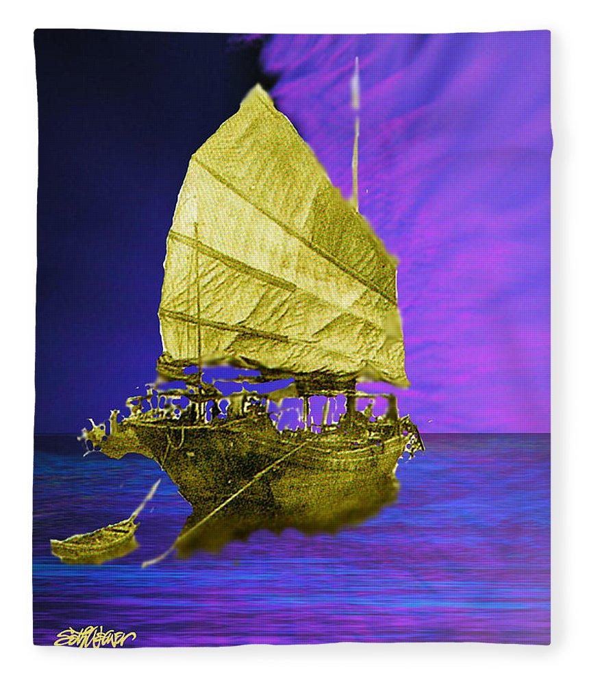 Nautical Fleece Blanket featuring the digital art Under Golden Sails by Seth Weaver