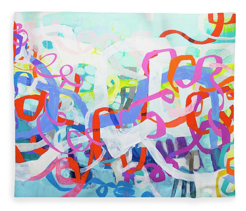 Abstract Fleece Blanket featuring the painting Under The Electric Candelabra by Claire Desjardins