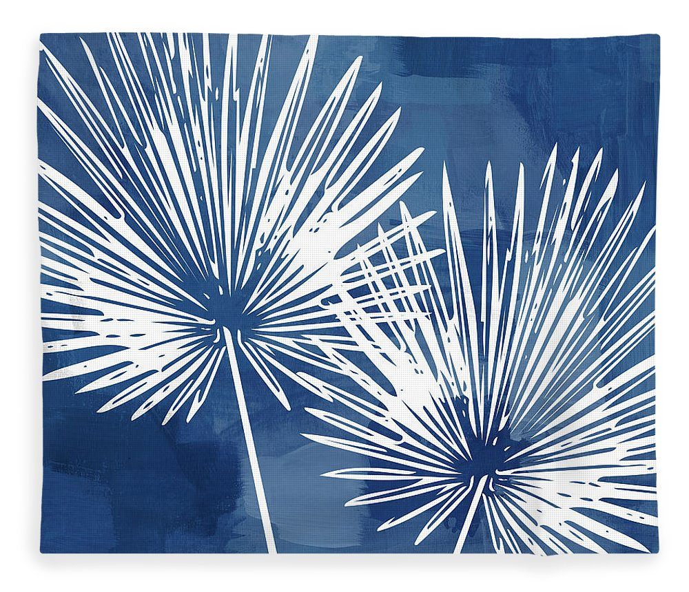 Tropical Fleece Blanket featuring the mixed media Under The Palms- Art by Linda Woods by Linda Woods