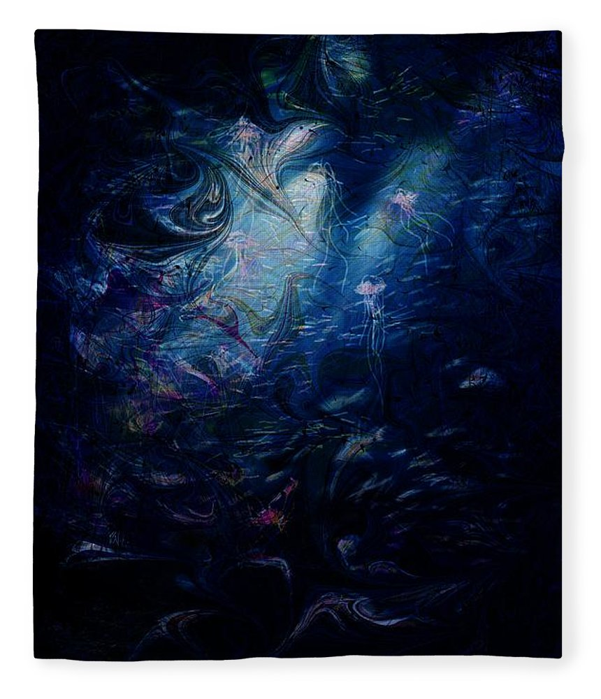 Abstract Fleece Blanket featuring the digital art Under the Sea by William Russell Nowicki