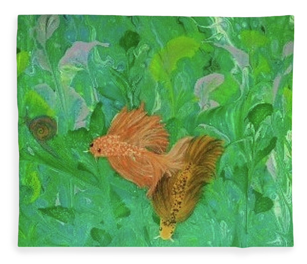 Abstract Fleece Blanket featuring the painting Underwater Garden by Diana Robbins