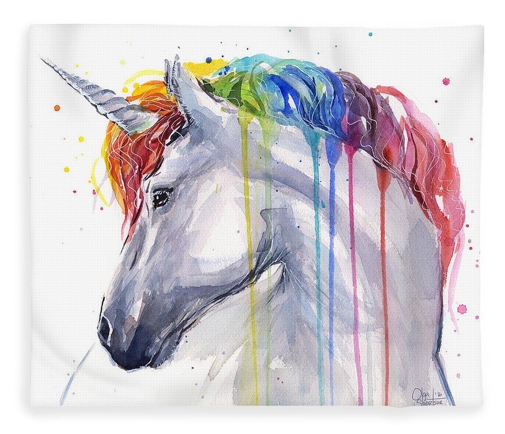 Magical Fleece Blanket featuring the painting Unicorn Rainbow Watercolor by Olga Shvartsur