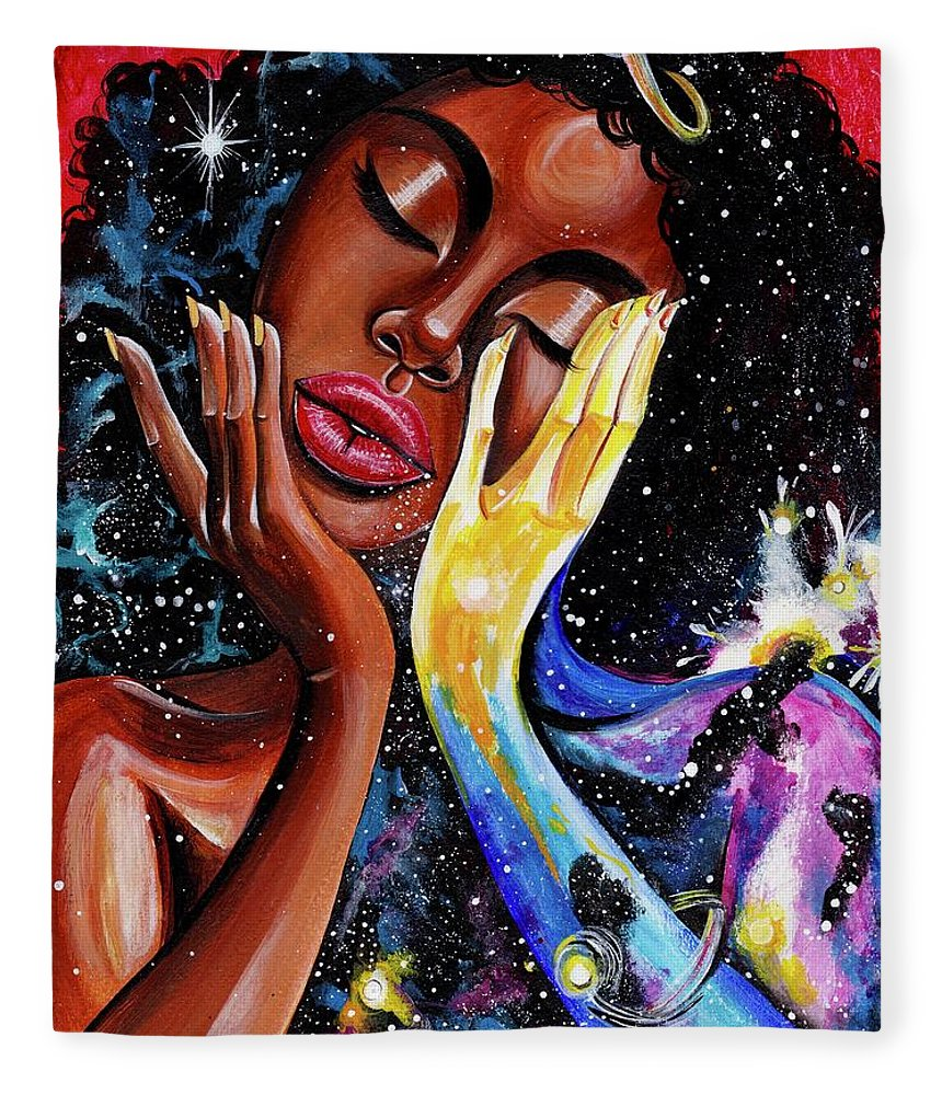 Universe Fleece Blanket featuring the painting Unlocked U.Never.See.All by Artist RiA