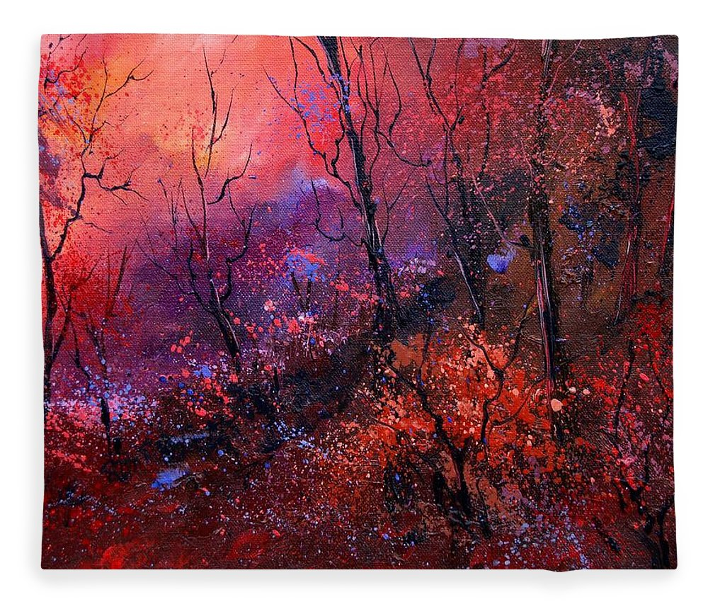 Wood Sunset Tree Fleece Blanket featuring the painting Unset In The Wood by Pol Ledent