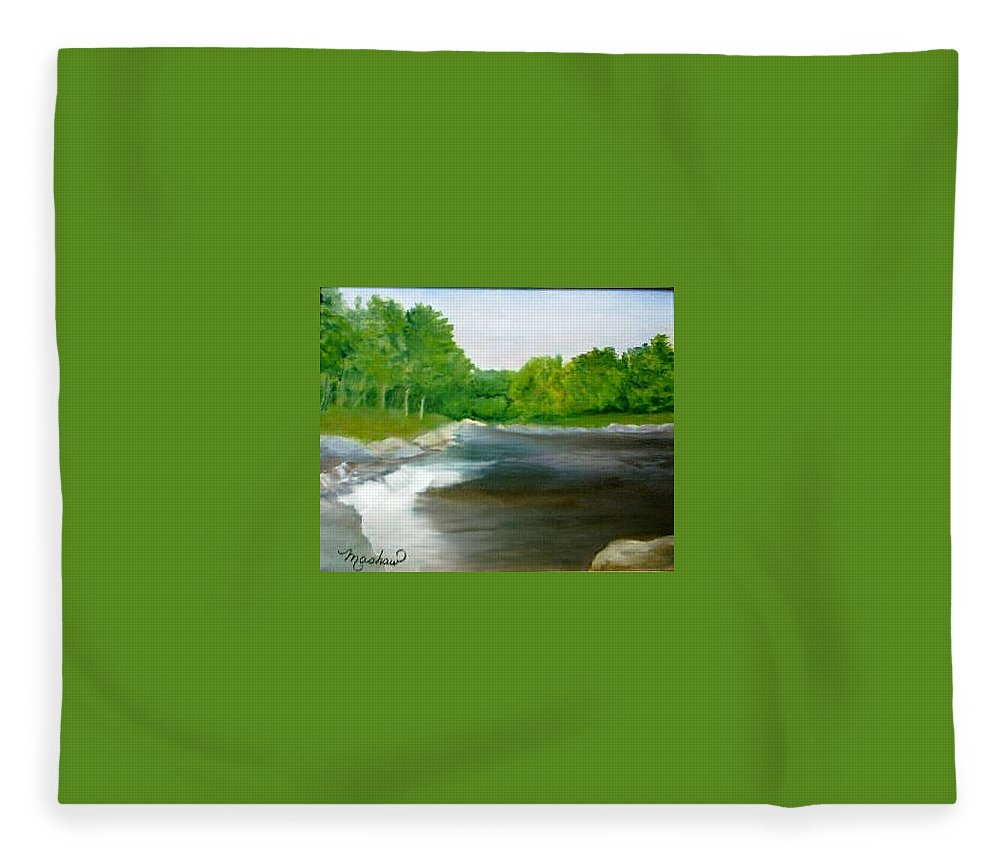 River Fleece Blanket featuring the painting Untitled Plein Aire by Sheila Mashaw