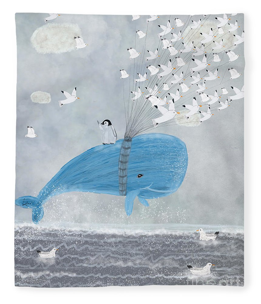 Whales Fleece Blanket featuring the painting Up And Up by Bri Buckley