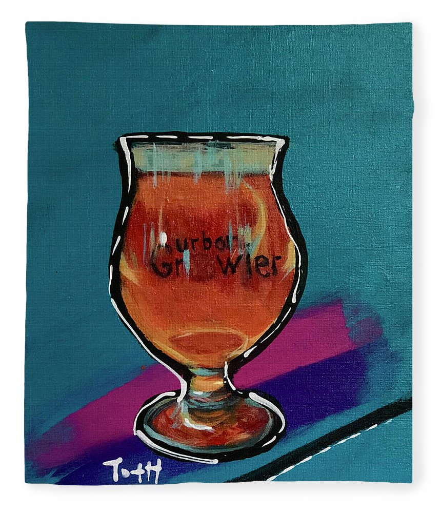 Urban Growler Fleece Blanket featuring the painting Urban Growler by Laura Toth