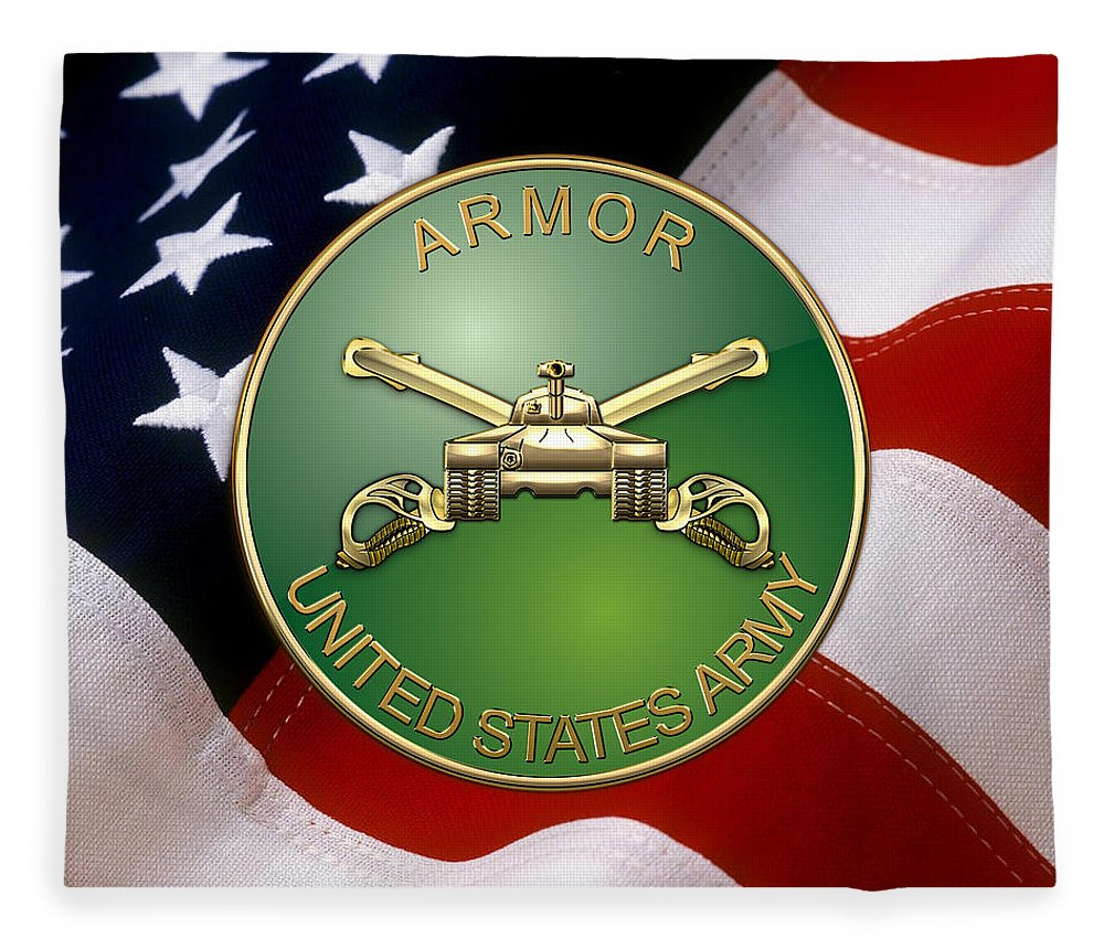 U S Army Armor Branch Insignia Over U S Flag Fleece Blanket For Sale By Serge Averbukh