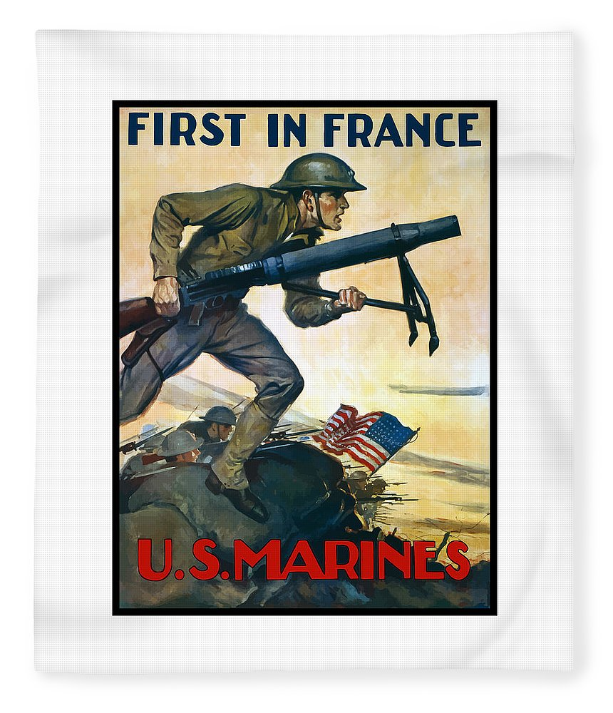 Marines Fleece Blanket featuring the painting Us Marines - First In France by War Is Hell Store
