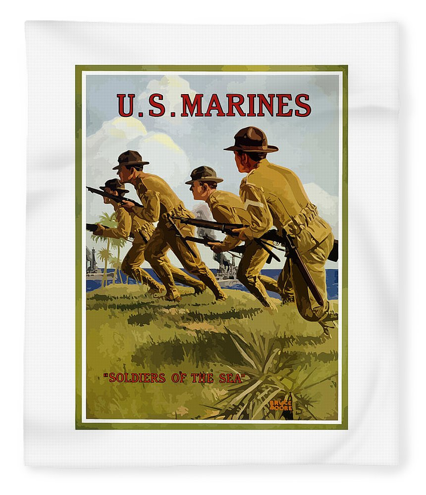 Marines Fleece Blanket featuring the painting Us Marines - Soldiers Of The Sea by War Is Hell Store