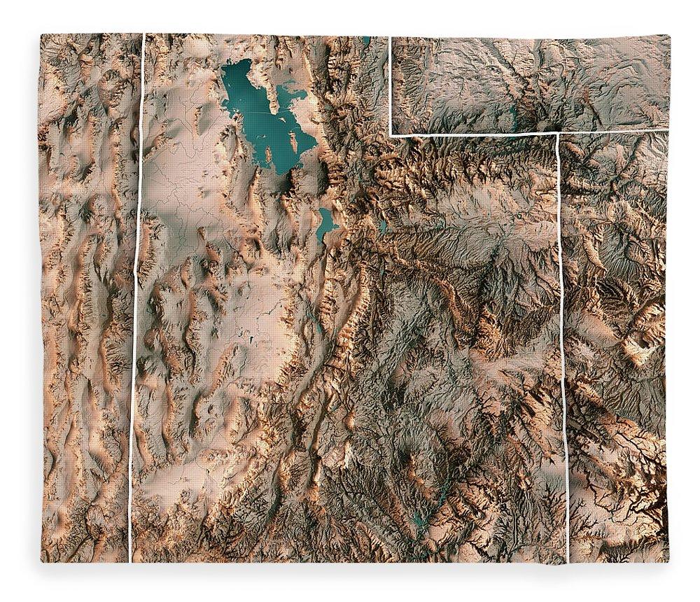 Utah Fleece Blanket featuring the digital art Utah State Usa 3d Render Topographic Map Neutral Border by Frank Ramspott