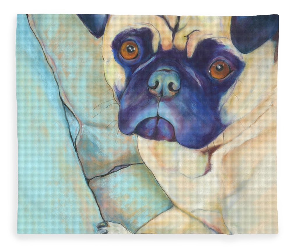Pug Fleece Blanket featuring the pastel Valentino by Pat Saunders-White