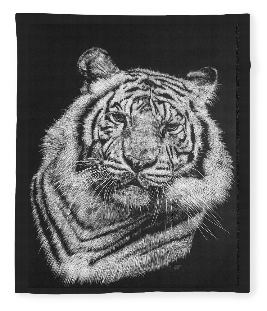 Tiger Fleece Blanket featuring the drawing Variance by Barbara Keith