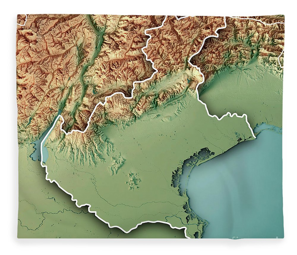Veneto state italy 3d render topographic map border fleece blanket veneto fleece blanket featuring the digital art veneto state italy 3d render topographic map border by gumiabroncs Image collections