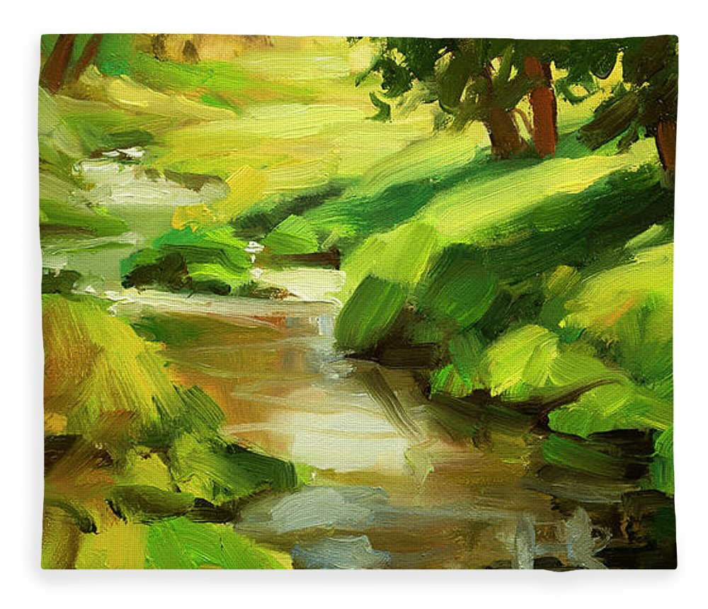 River Fleece Blanket featuring the painting Verdant Banks by Steve Henderson