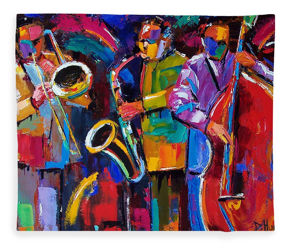 Jazz Fleece Blanket featuring the painting Vibrant Jazz by Debra Hurd