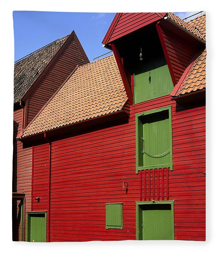 Vibrant Red & Green Building Fleece Blanket featuring the photograph Vibrant Red And Green Building by Sally Weigand