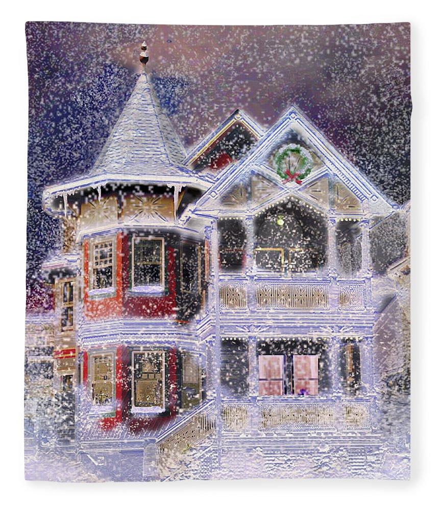 House Fleece Blanket featuring the digital art Victorian Christmas by Steve Karol