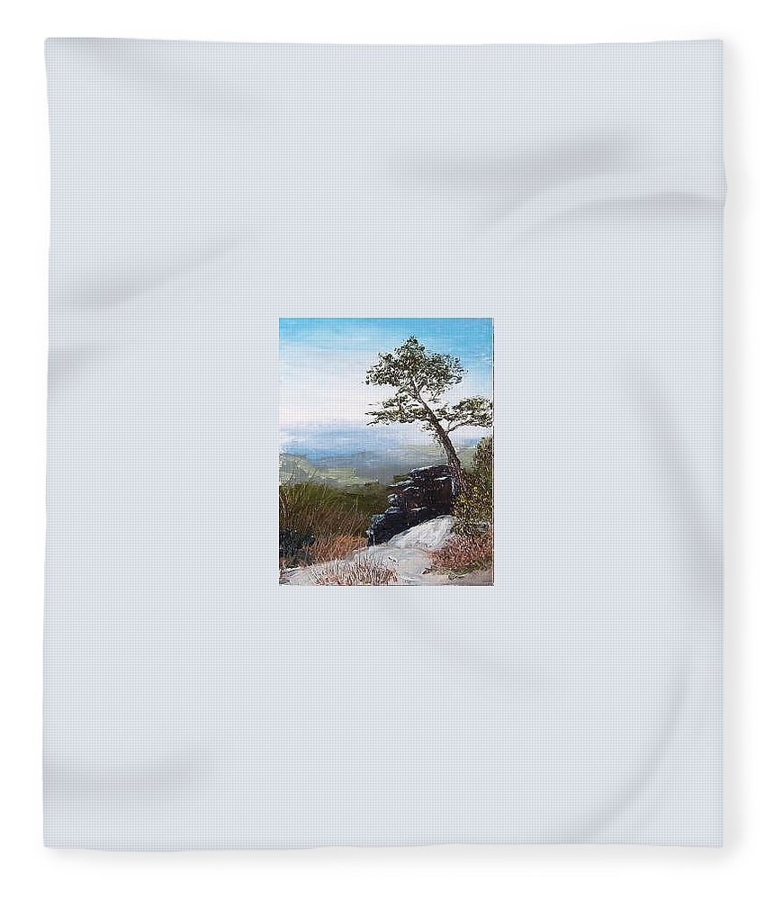 Landscape / Nature / Blue Ridge Mountains Fleece Blanket featuring the painting View From Pilot Mountain by Tami Booher