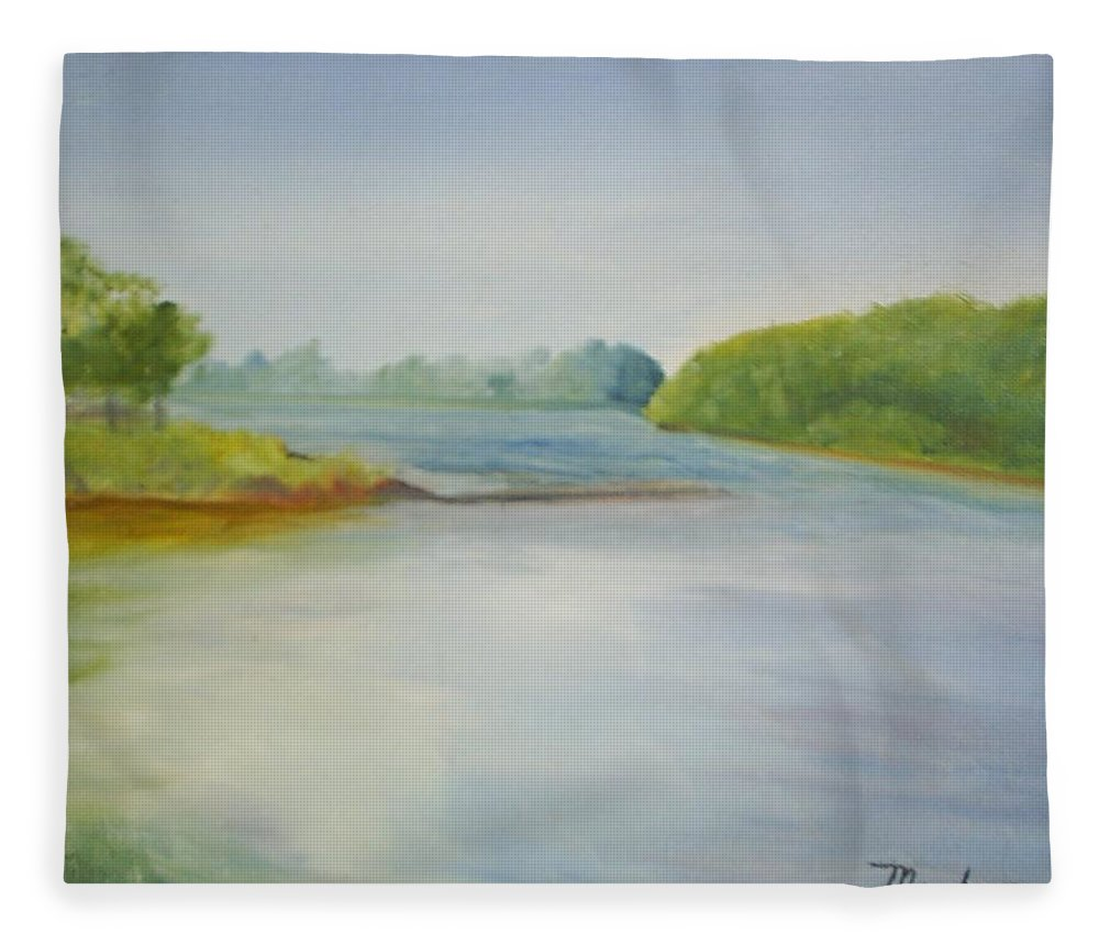 Delaware River Fleece Blanket featuring the painting View of the Delaware by Sheila Mashaw