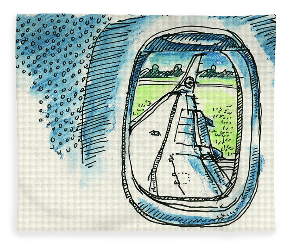 View Out Of Airplane Window Drawing Fleece Blanket For Sale By