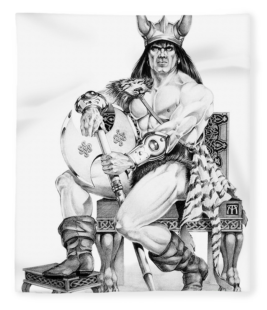 Viking Fleece Blanket featuring the painting Viking Warrior by Melissa A Benson