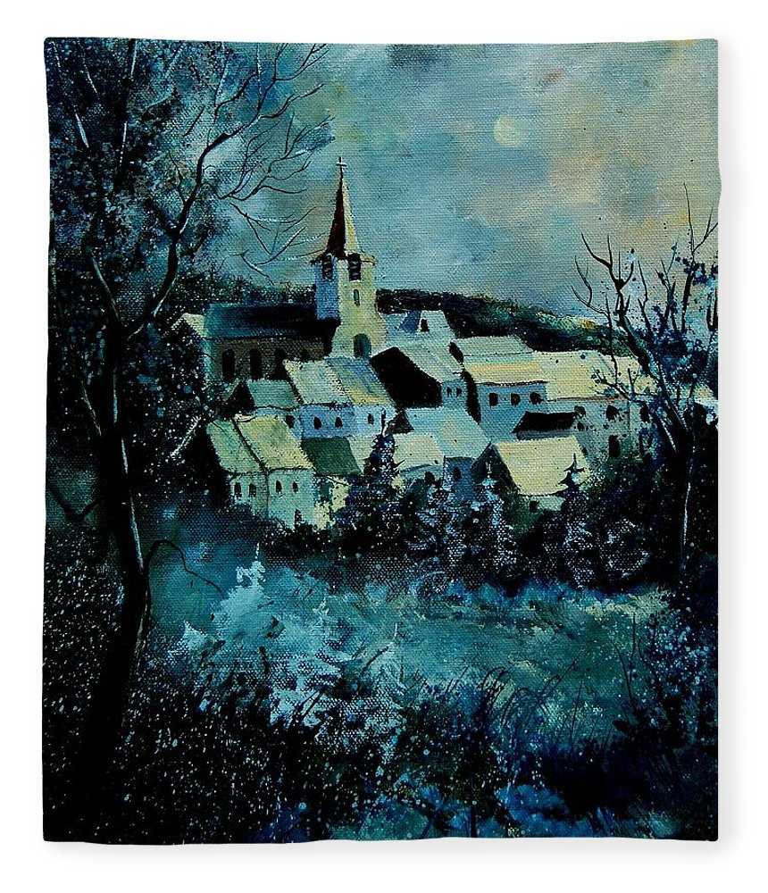 River Fleece Blanket featuring the painting Village in winter by Pol Ledent