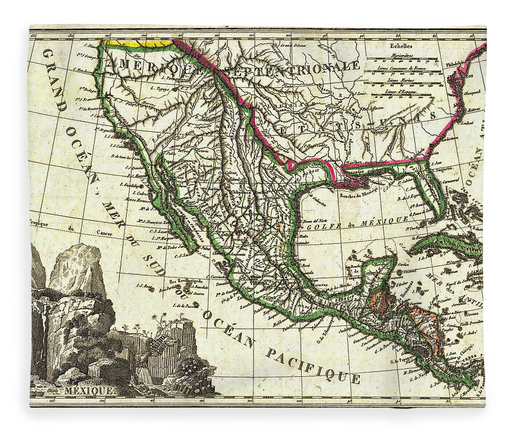 mexico fleece blanket featuring the photograph vintage 1810 map of mexico texas and california by stephen
