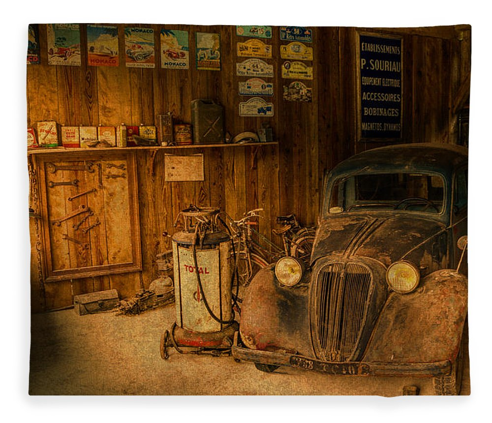 Vintage Auto Repair Garage With Truck And Signs Fleece Blanket for ...