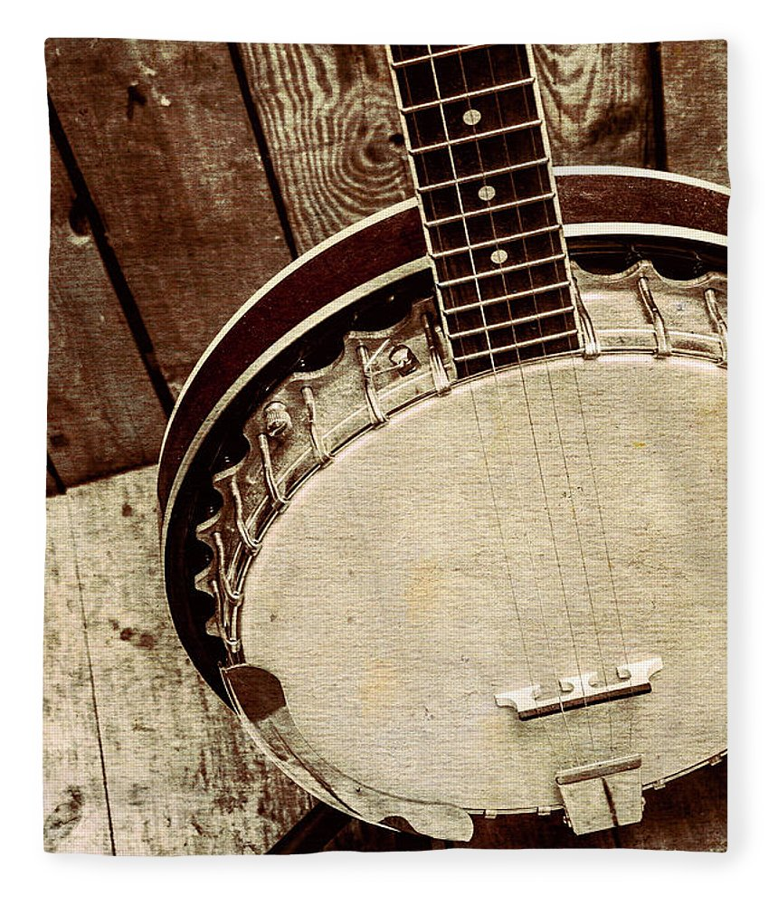 String Fleece Blanket featuring the photograph Vintage Banjo Barn Dance by Jorgo Photography - Wall Art Gallery